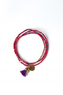 Brass Paillette and Tassel Rafiki (Raspberry)