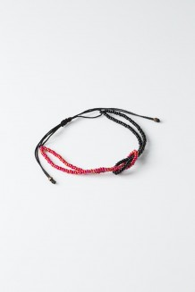 Knotted Bead Bracelet - Raspberry - Red