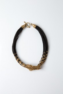 Faceted Knot Choker - Black and Brass