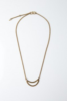 Crescent Moon Cutout Necklace - Brass - Brass