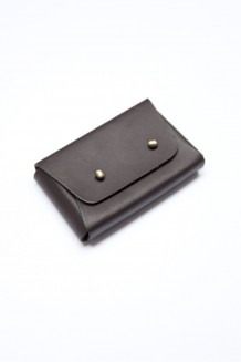 Business Card Holder - Dark Brown - Brown Leather
