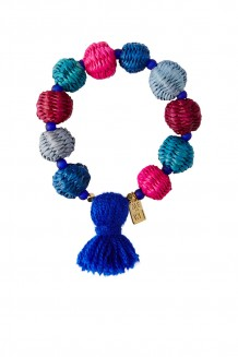 Straw Pom Pom Bracelet - Multi With Indigo