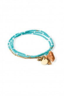 Brass Paillette and Tassel Rafiki - Teal