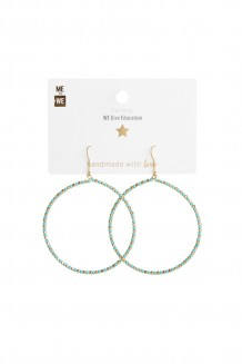 Brass and bead hoops - brass & teal