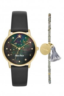 Mon Amie novelty education black leather watch and bracelet set