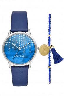 Mon Amie Watch and Single strand set - navy