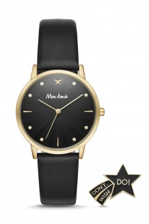 Mon Amie education three-hand black leather watch