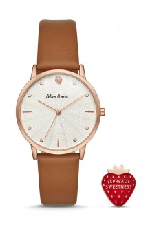Mon Amie food three-hand tan leather watch