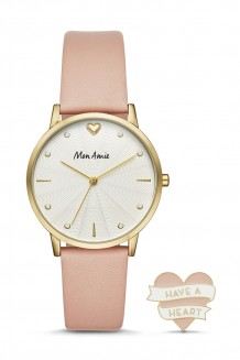 Mon Amie health three-hand pink leather watch