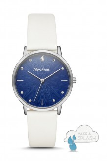 Mon Amie water three-hand white leather watch