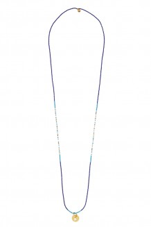 Delicate long line necklace - royal blue