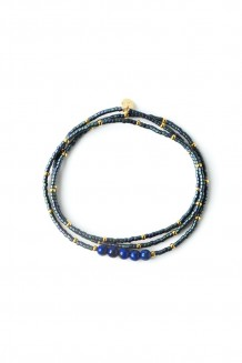 Semiprecious collection - three-wrap Rafiki - lapis lazuli (matte)