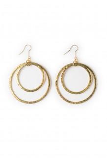 Hammered brass hoop earrings