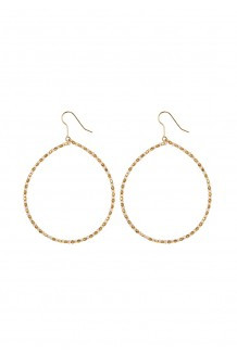 Brass and bead hoops - brass & white