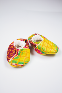 Kitenge Baby Booties - Pink, Green & Yellow