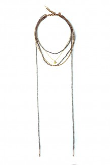 Wraparound Bead & Chain Choker - gray