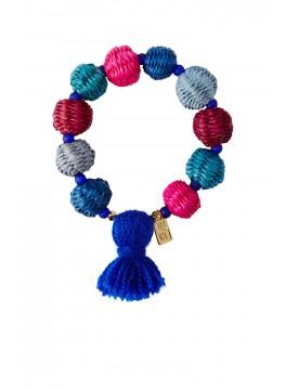 Straw Pom Pom Bracelet - Multi With Indigo
