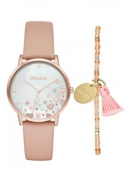 Mon Amie novelty health blush leather watch and bracelet set
