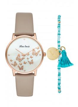 Mon Amie novelty opportunity grey leather watch and bracelet set