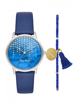 Mon Amie novelty water navy leather watch and bracelet set