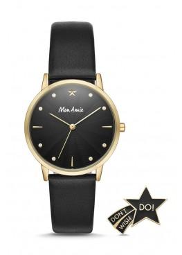 Mon Amie education three-hand black leather watch