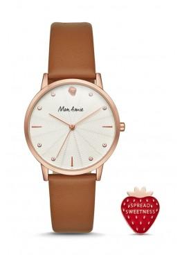 Mon Amie food three-hand tan leather watch