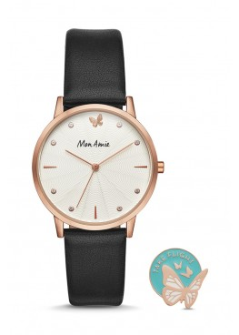 Mon Amie opportunity three-hand black leather watch