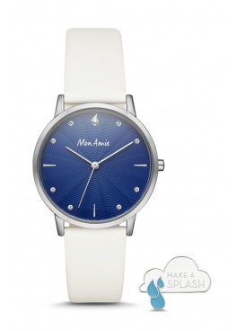 Mon Amie water three-hand white leather watch